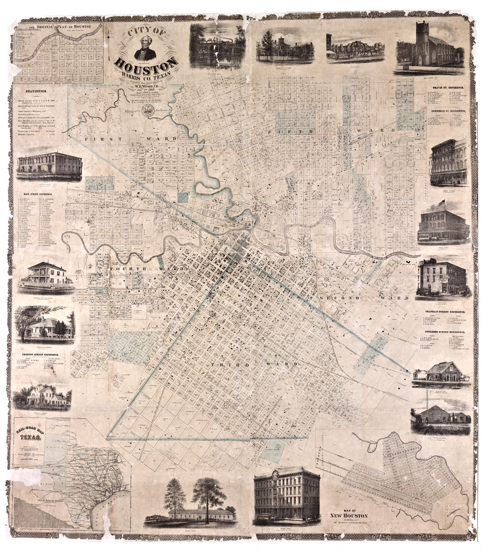1869 Wood Houston Map 1869 Wood Houston
